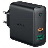 Сетевое ЗУ Aukey USB+USB-C PD 60W Wall Charger with Dynamic Detect